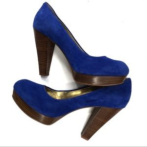 Chinese Laundry Shoes - Chinese Laundry Blue Suede Platform Wood Heels